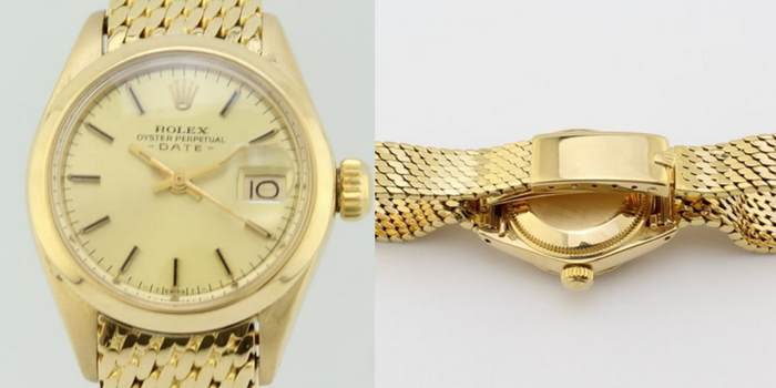 preowned ladies rolex oyster solid gold